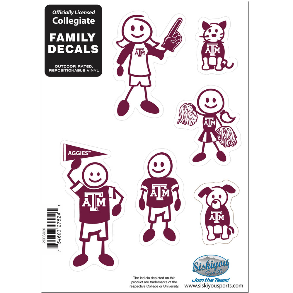 Texas A and M Aggies Family Decal Set Small - Show off your team pride with our Texas A & M Aggies family automotive decals. The set includes 6 individual family themed decals that each feature the team logo. The 5 x 7 inch decal set is made of outdoor rated, repositionable vinyl for durability and easy application.