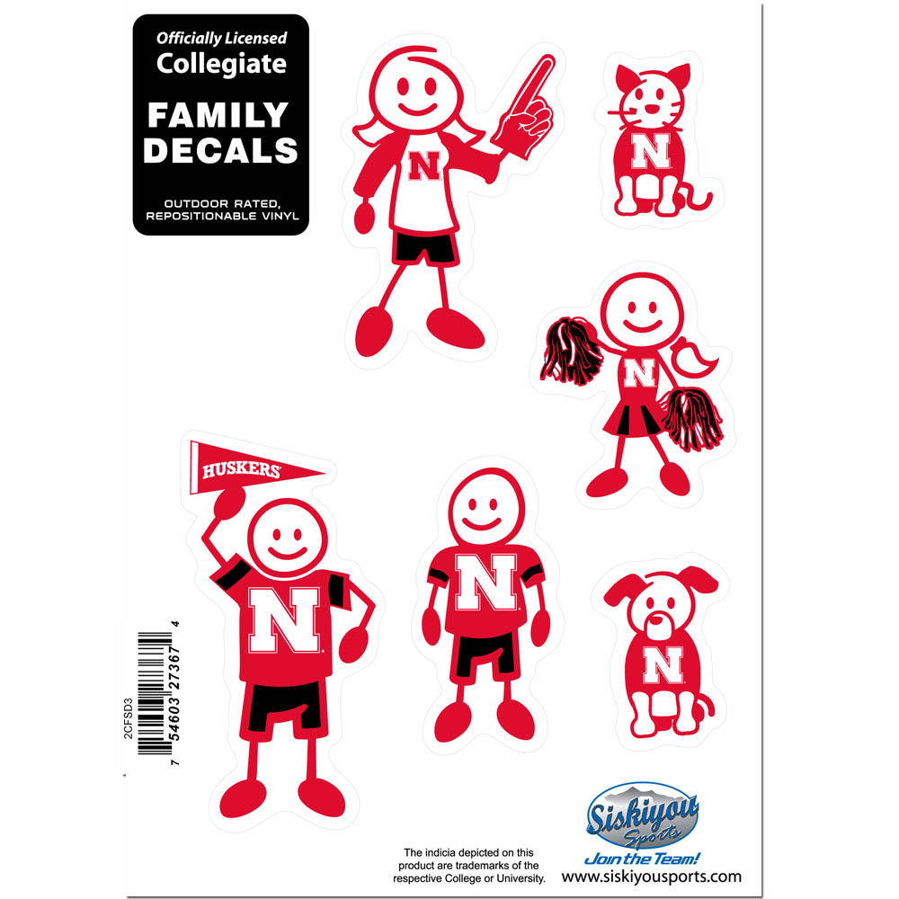 Nebraska Cornhuskers Family Decal Set Small - Show off your team pride with our Nebraska Cornhuskers family automotive decals. The set includes 6 individual family themed decals that each feature the team logo. The 5 x 7 inch decal set is made of outdoor rated, repositionable vinyl for durability and easy application.