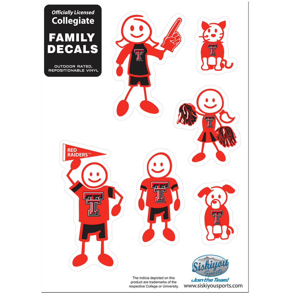 Texas Tech Raiders Family Decal Set Small - Show off your team pride with our Texas Tech Raiders family automotive decals. The set includes 6 individual family themed decals that each feature the team logo. The 5 x 7 inch decal set is made of outdoor rated, repositionable vinyl for durability and easy application.