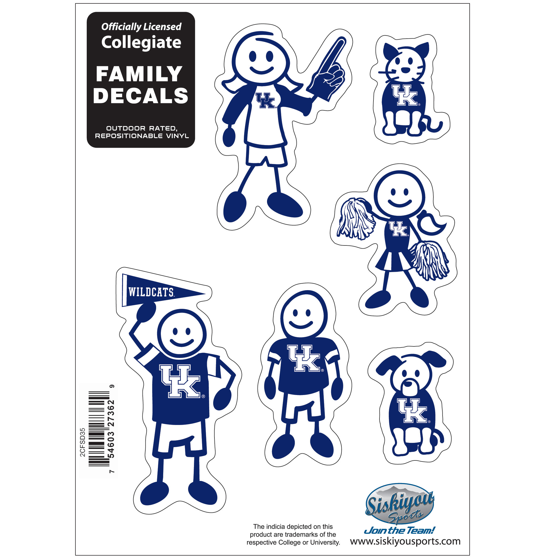 Kentucky Wildcats Family Decal Set Small - Show off your team pride with our Kentucky Wildcats family automotive decals. The set includes 6 individual family themed decals that each feature the team logo. The 5 x 7 inch decal set is made of outdoor rated, repositionable vinyl for durability and easy application.
