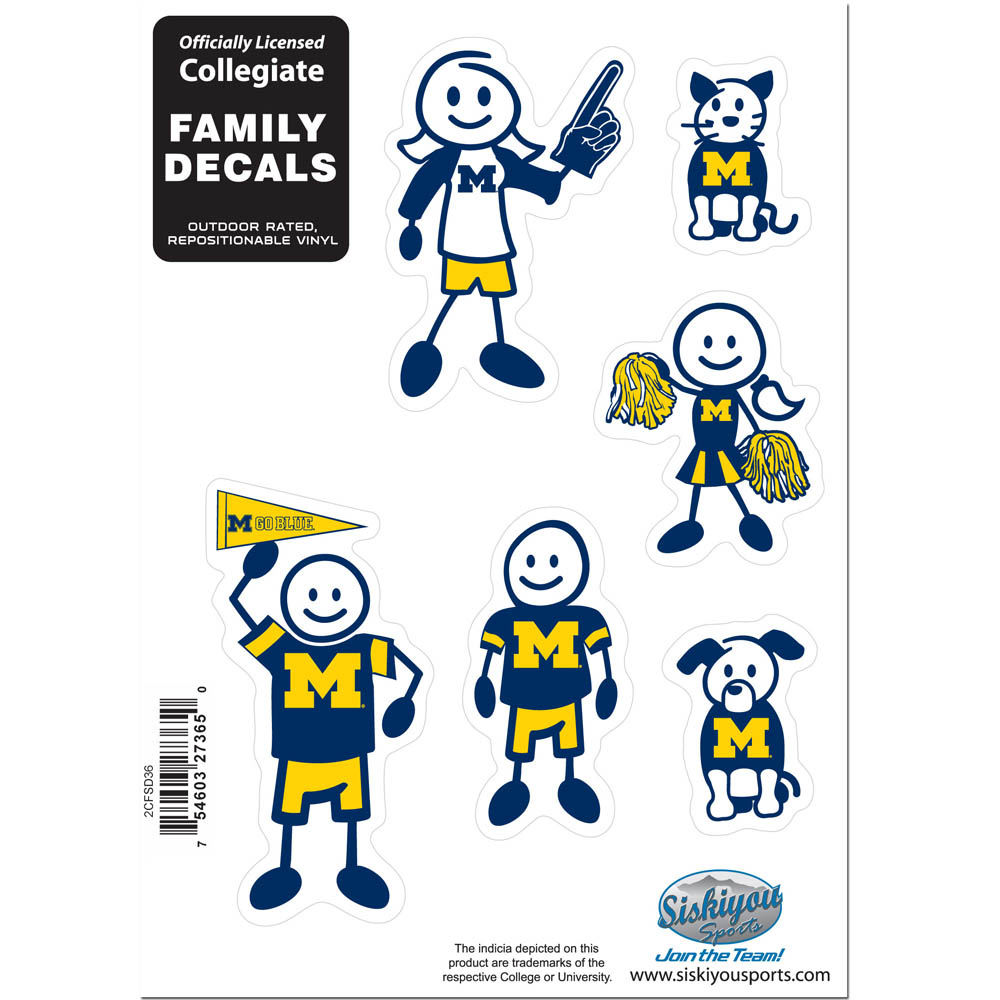 Michigan Wolverines Family Decal Set Small - Show off your team pride with our Michigan Wolverines family automotive decals. The set includes 6 individual family themed decals that each feature the team logo. The 5 x 7 inch decal set is made of outdoor rated, repositionable vinyl for durability and easy application.