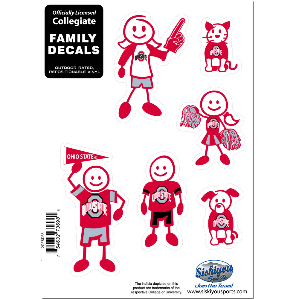 Ohio St. Buckeyes Family Decal Set Small - Show off your team pride with our Ohio St. Buckeyes family automotive decals. The set includes 6 individual family themed decals that each feature the team logo. The 5 x 7 inch decal set is made of outdoor rated, repositionable vinyl for durability and easy application.