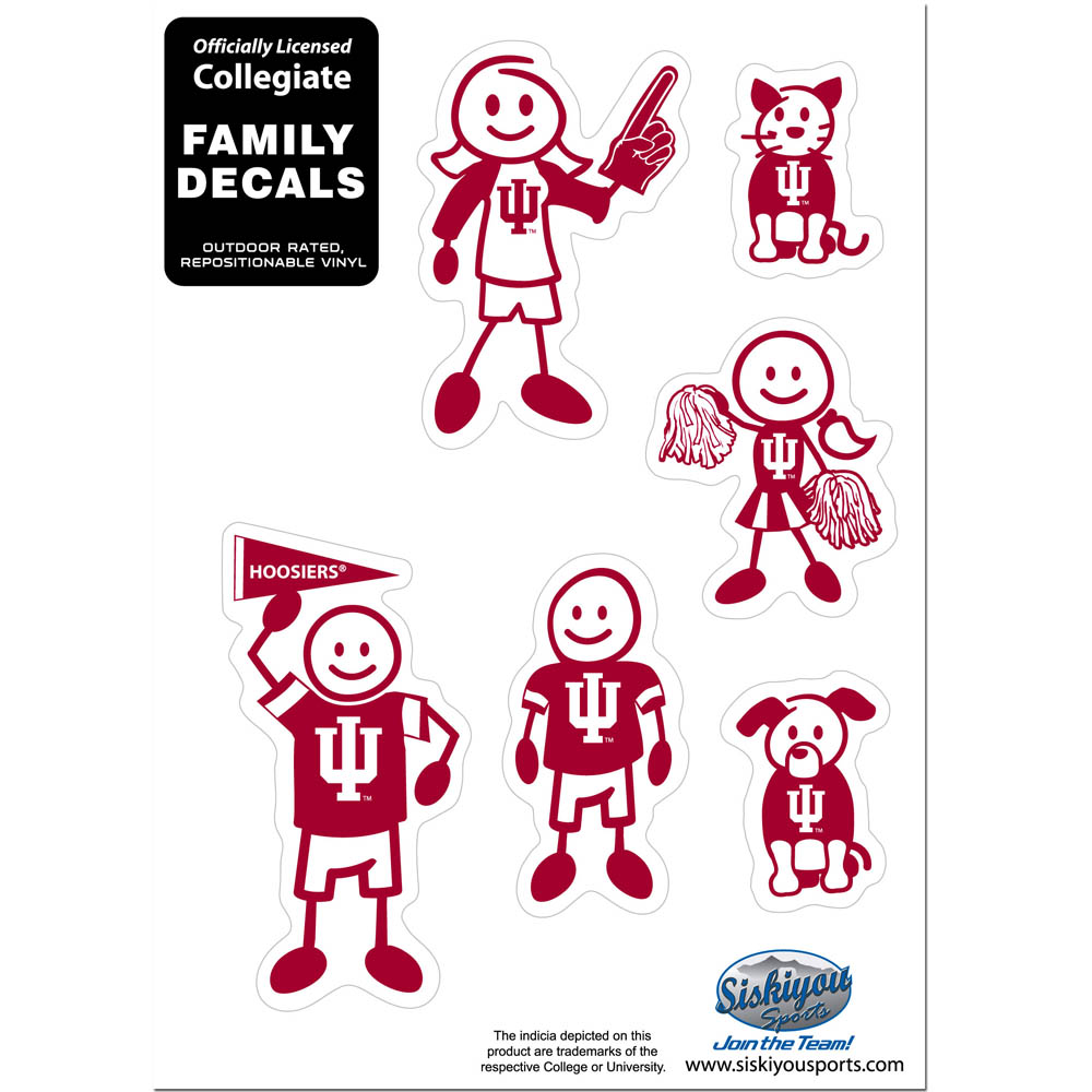 Indiana Hoosiers Family Decal Set Small - Show off your team pride with our Indiana Hoosiers family automotive decals. The set includes 6 individual family themed decals that each feature the team logo. The 5 x 7 inch decal set is made of outdoor rated, repositionable vinyl for durability and easy application.