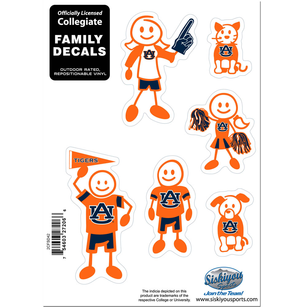 Auburn Tigers Family Decal Set Small - Show off your team pride with our Auburn Tigers family automotive decals. The set includes 6 individual family themed decals that each feature the team logo. The 5 x 7 inch decal set is made of outdoor rated, repositionable vinyl for durability and easy application.