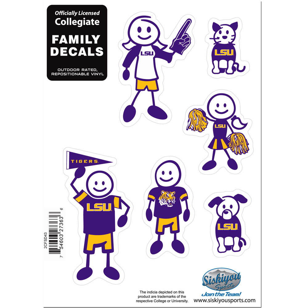 LSU Tigers Family Decal Set Small - Show off your team pride with our LSU Tigers family automotive decals. The set includes 6 individual family themed decals that each feature the team logo. The 5 x 7 inch decal set is made of outdoor rated, repositionable vinyl for durability and easy application.