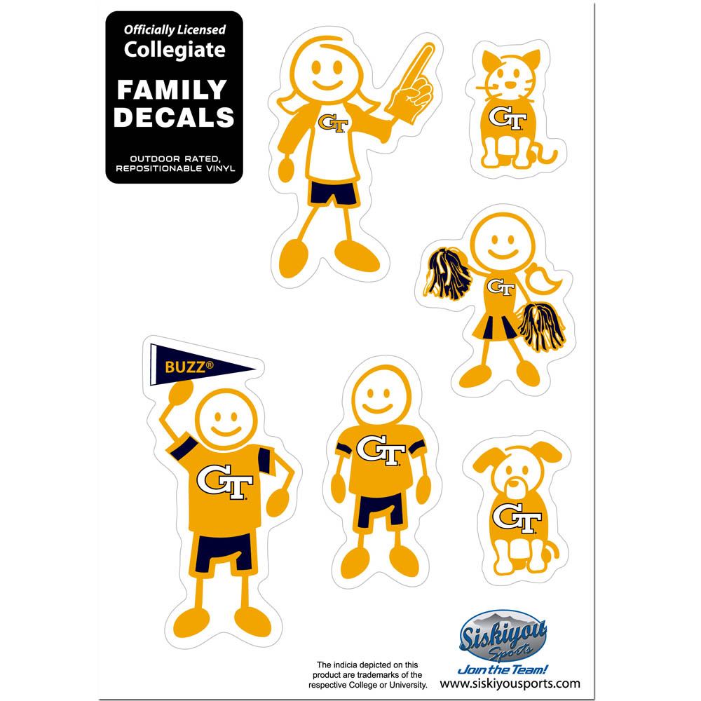 Georgia Tech Yellow Jackets Family Decal Set Small - Show off your team pride with our Georgia Tech Yellow Jackets family automotive decals. The set includes 6 individual family themed decals that each feature the team logo. The 5 x 7 inch decal set is made of outdoor rated, repositionable vinyl for durability and easy application.