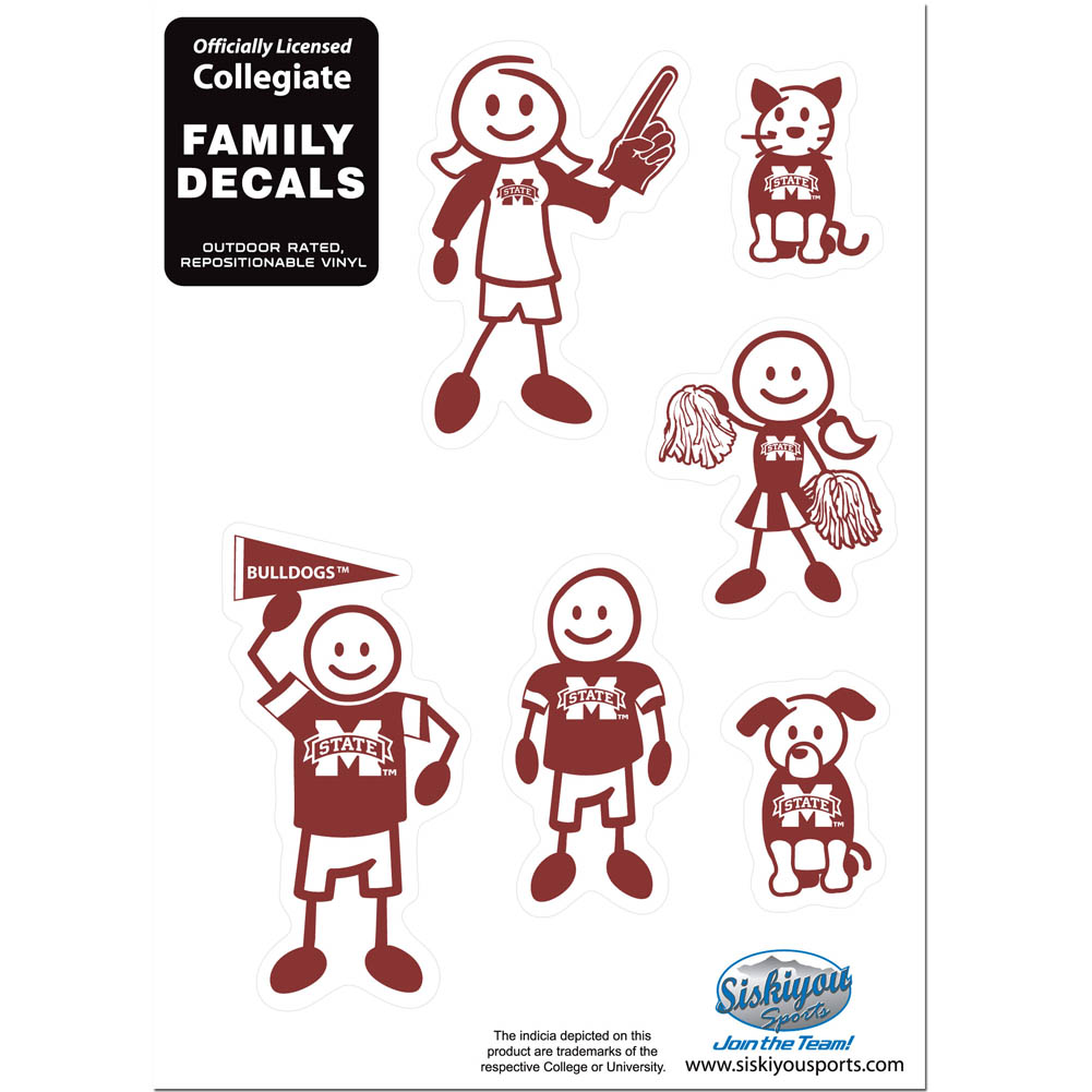 Mississippi St. Bulldogs Family Decal Set Small - Show off your team pride with our Mississippi St. Bulldogs family automotive decals. The set includes 6 individual family themed decals that each feature the team logo. The 5 x 7 inch decal set is made of outdoor rated, repositionable vinyl for durability and easy application.