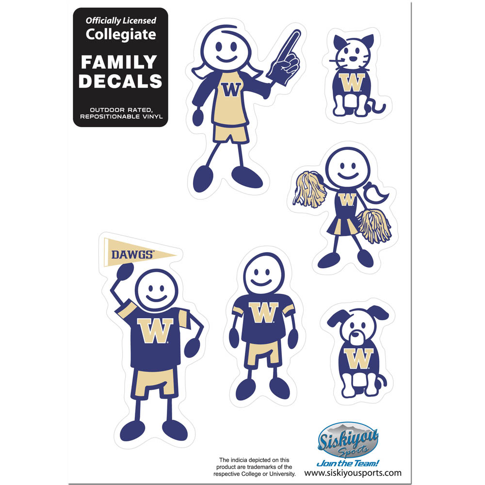 Washington Huskies Family Decal Set Small - Show off your team pride with our Washington Huskies family automotive decals. The set includes 6 individual family themed decals that each feature the team logo. The 5 x 7 inch decal set is made of outdoor rated, repositionable vinyl for durability and easy application.