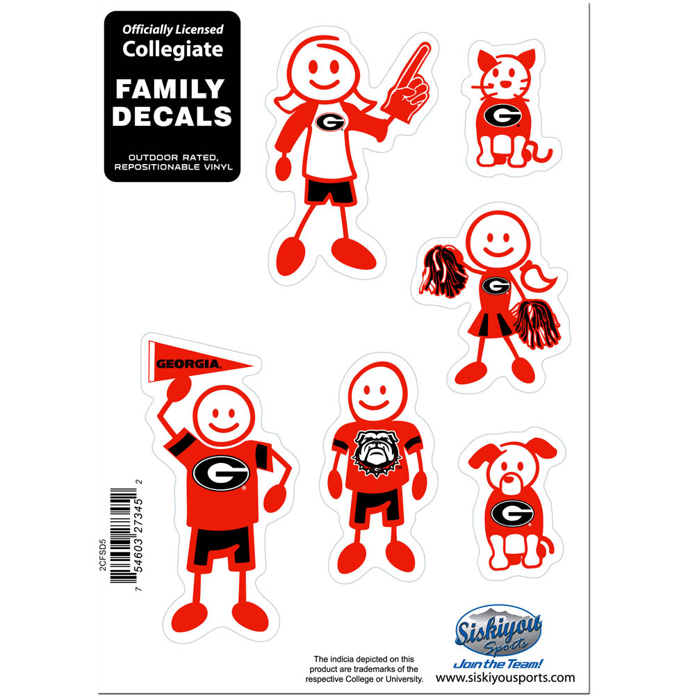 Georgia Bulldogs Family Decal Set Small - Show off your team pride with our Georgia Bulldogs family automotive decals. The set includes 6 individual family themed decals that each feature the team logo. The 5 x 7 inch decal set is made of outdoor rated, repositionable vinyl for durability and easy application.