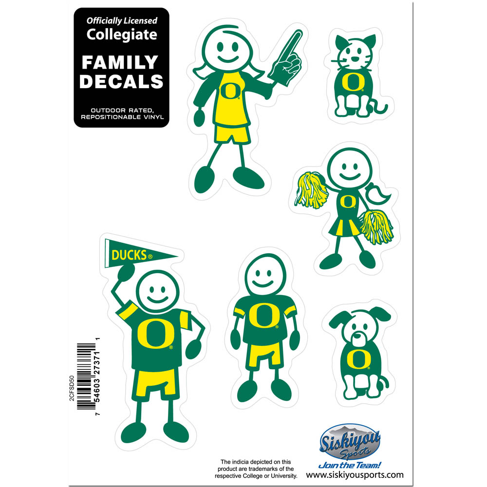 Oregon Ducks Family Decal Set Small - Show off your team pride with our Oregon Ducks family automotive decals. The set includes 6 individual family themed decals that each feature the team logo. The 5 x 7 inch decal set is made of outdoor rated, repositionable vinyl for durability and easy application.