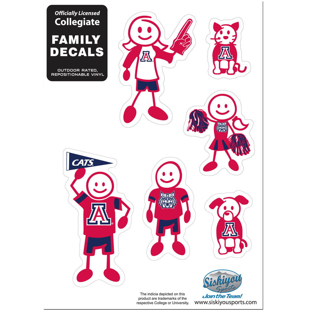 Arizona Wildcats Family Decal Set Small - Show off your team pride with our Arizona Wildcats family automotive decals. The set includes 6 individual family themed decals that each feature the team logo. The 5 x 7 inch decal set is made of outdoor rated, repositionable vinyl for durability and easy application.