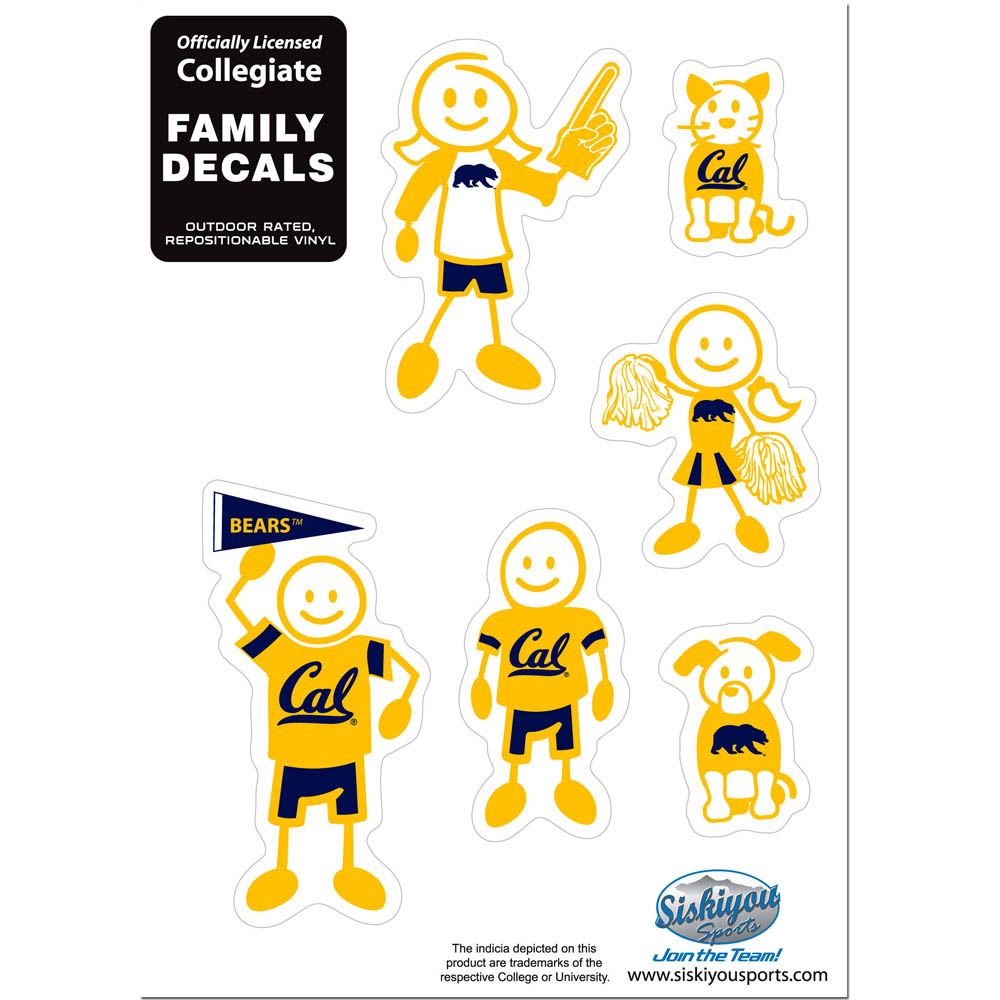 Cal Berkeley Bears Family Decal Set Small - Show off your team pride with our Cal Berkeley Bears family automotive decals. The set includes 6 individual family themed decals that each feature the team logo. The 5 x 7 inch decal set is made of outdoor rated, repositionable vinyl for durability and easy application.