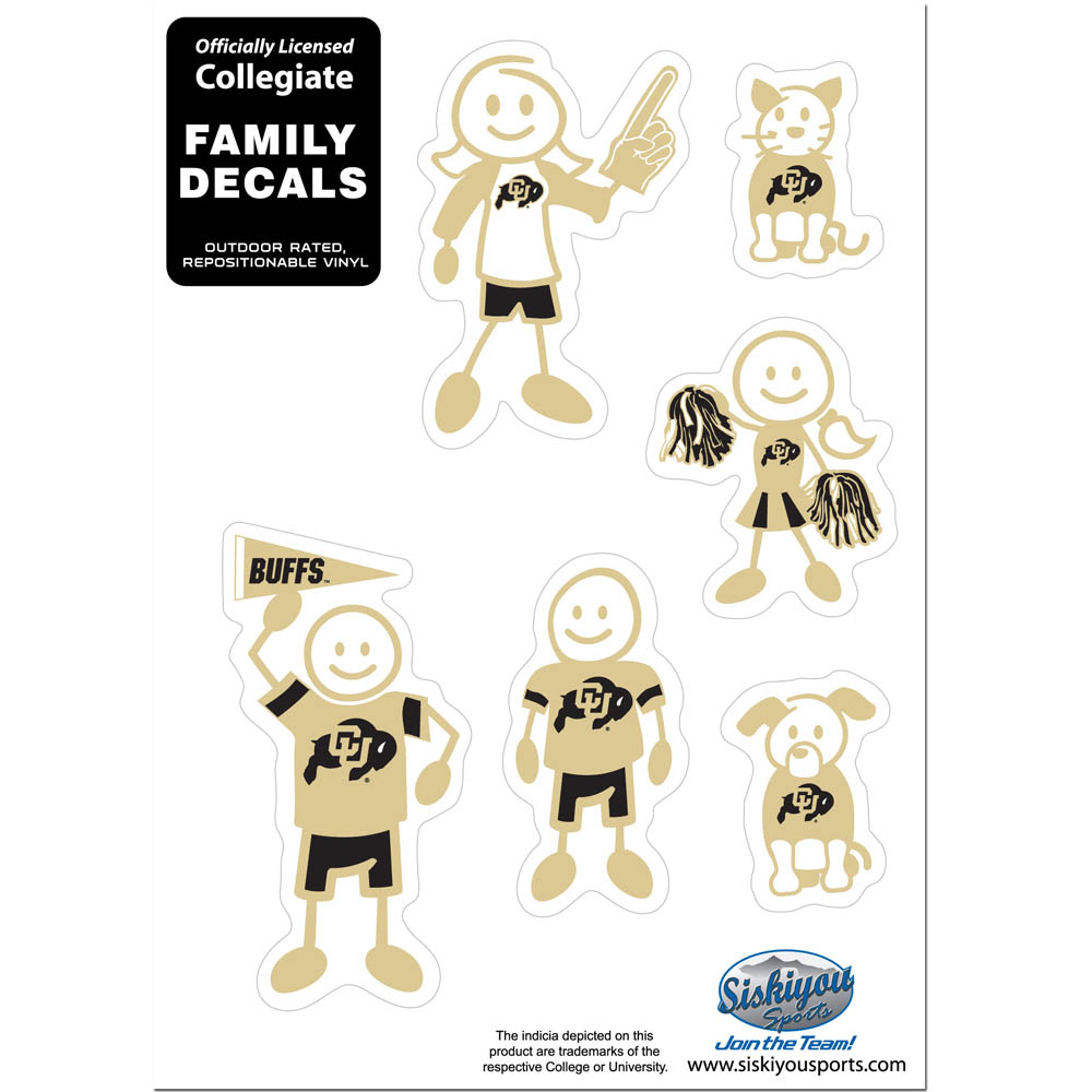 Colorado Buffaloes Family Decal Set Small - Show off your team pride with our Colorado Buffaloes family automotive decals. The set includes 6 individual family themed decals that each feature the team logo. The 5 x 7 inch decal set is made of outdoor rated, repositionable vinyl for durability and easy application.