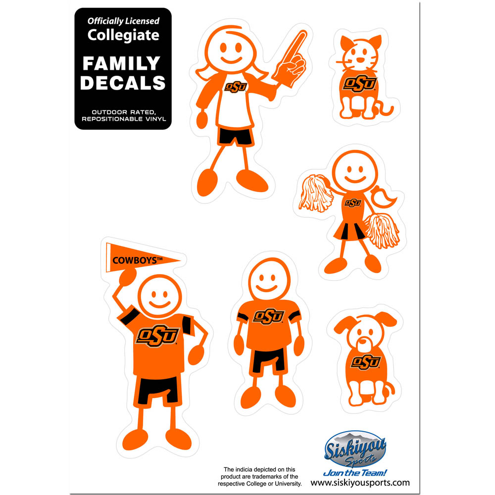 Oklahoma State Cowboys Family Decal Set Small - Show off your team pride with our Oklahoma State Cowboys family automotive decals. The set includes 6 individual family themed decals that each feature the team logo. The 5 x 7 inch decal set is made of outdoor rated, repositionable vinyl for durability and easy application.