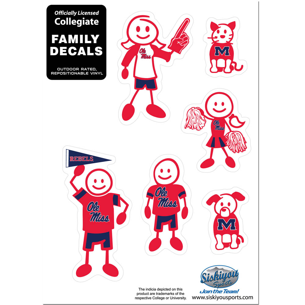 Mississippi Rebels Family Decal Set Small - Show off your team pride with our Mississippi Rebels family automotive decals. The set includes 6 individual family themed decals that each feature the team logo. The 5 x 7 inch decal set is made of outdoor rated, repositionable vinyl for durability and easy application.