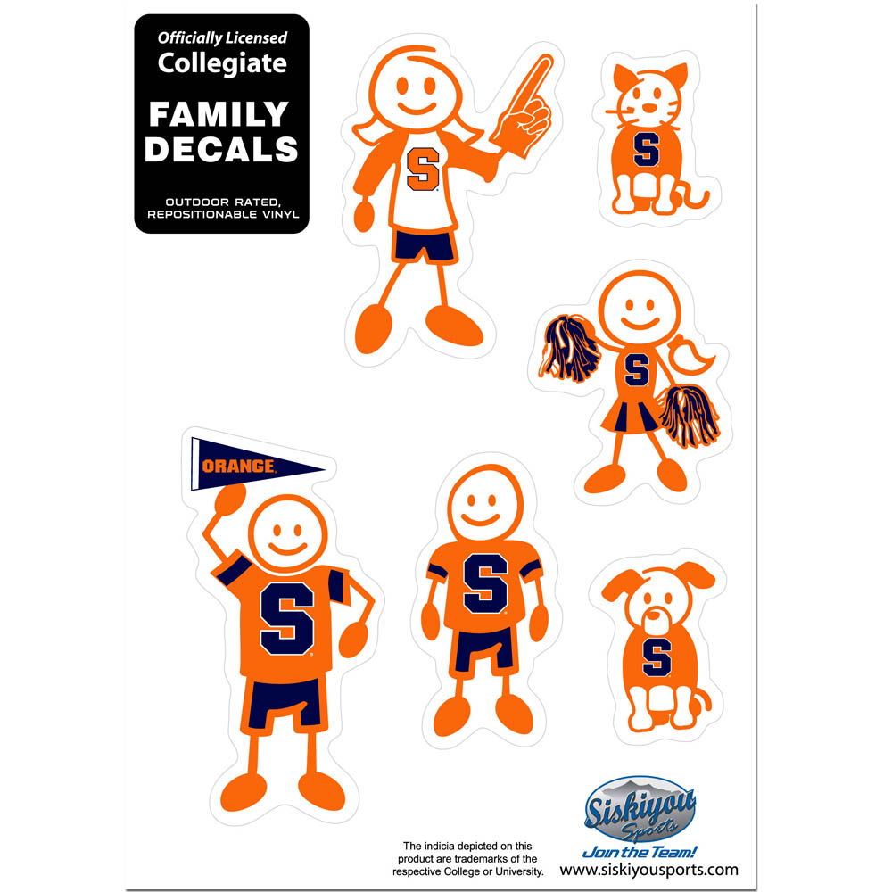 Syracuse Orange Family Decal Set Small - Show off your team pride with our Syracuse Orange family automotive decals. The set includes 6 individual family themed decals that each feature the team logo. The 5 x 7 inch decal set is made of outdoor rated, repositionable vinyl for durability and easy application.
