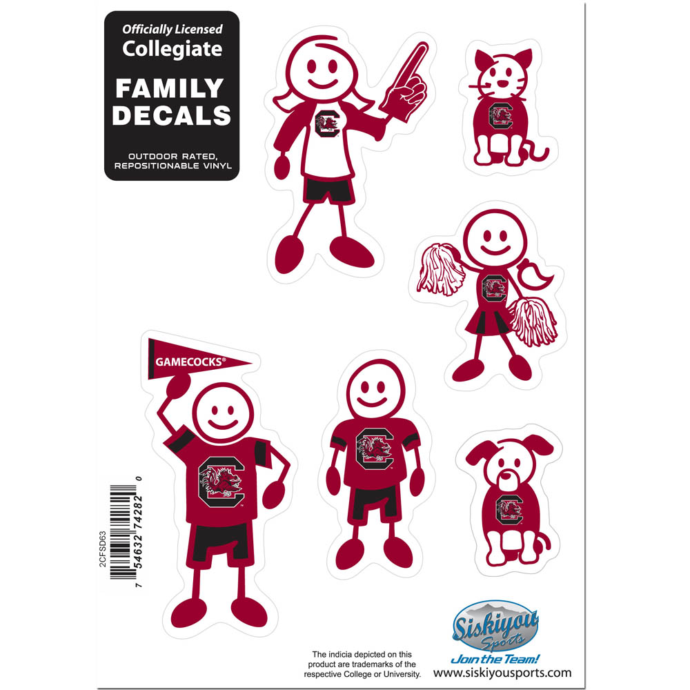S. Carolina Gamecocks Family Decal Set Small - Show off your team pride with our S. Carolina Gamecocks family automotive decals. The set includes 6 individual family themed decals that each feature the team logo. The 5 x 7 inch decal set is made of outdoor rated, repositionable vinyl for durability and easy application.
