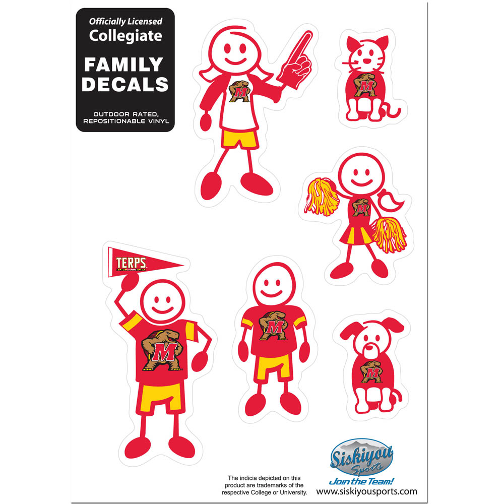 Maryland Terrapins Family Decal Set Small - Show off your team pride with our Maryland Terrapins family automotive decals. The set includes 6 individual family themed decals that each feature the team logo. The 5 x 7 inch decal set is made of outdoor rated, repositionable vinyl for durability and easy application.