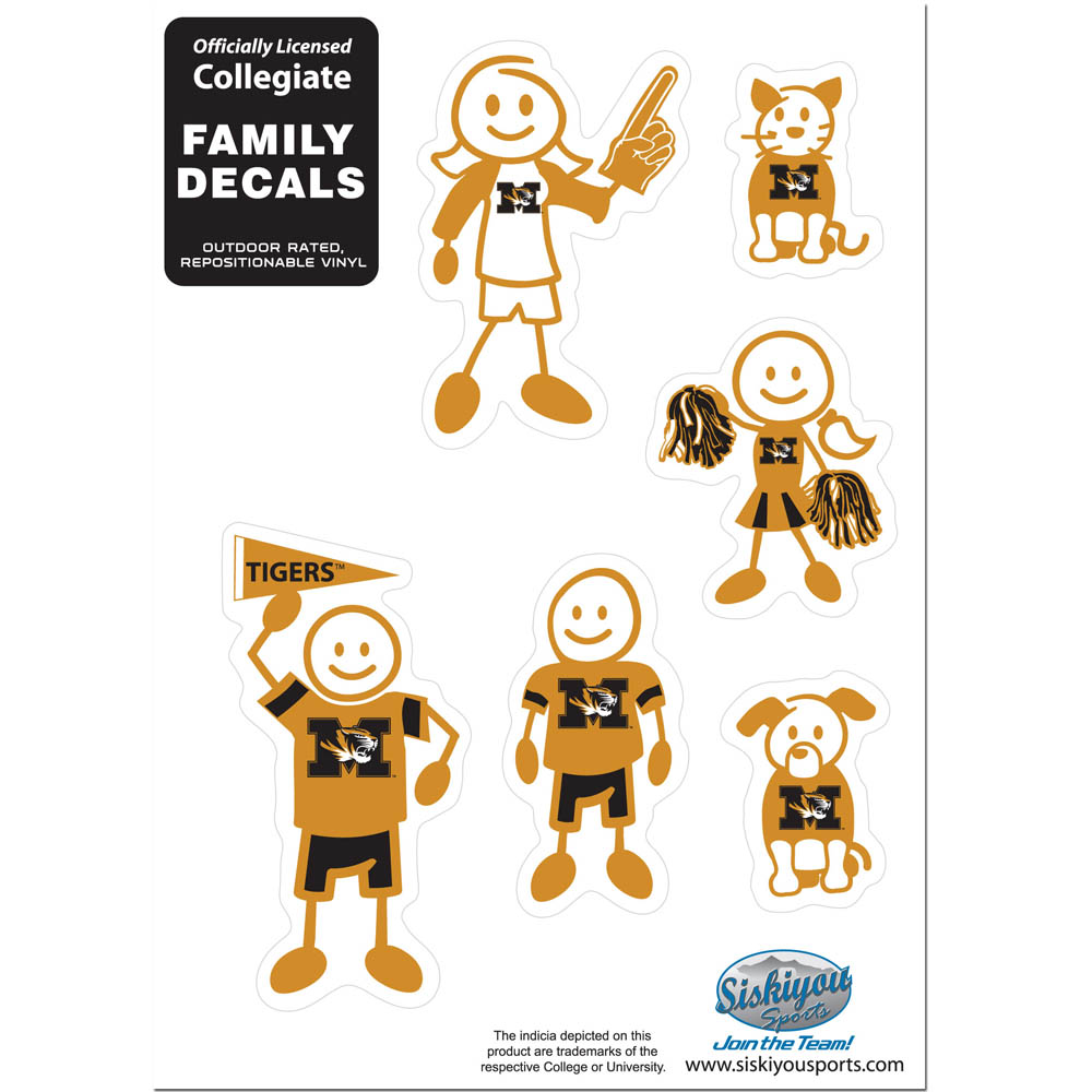 Missouri Tigers Family Decal Set Small - Show off your team pride with our Missouri Tigers family automotive decals. The set includes 6 individual family themed decals that each feature the team logo. The 5 x 7 inch decal set is made of outdoor rated, repositionable vinyl for durability and easy application.
