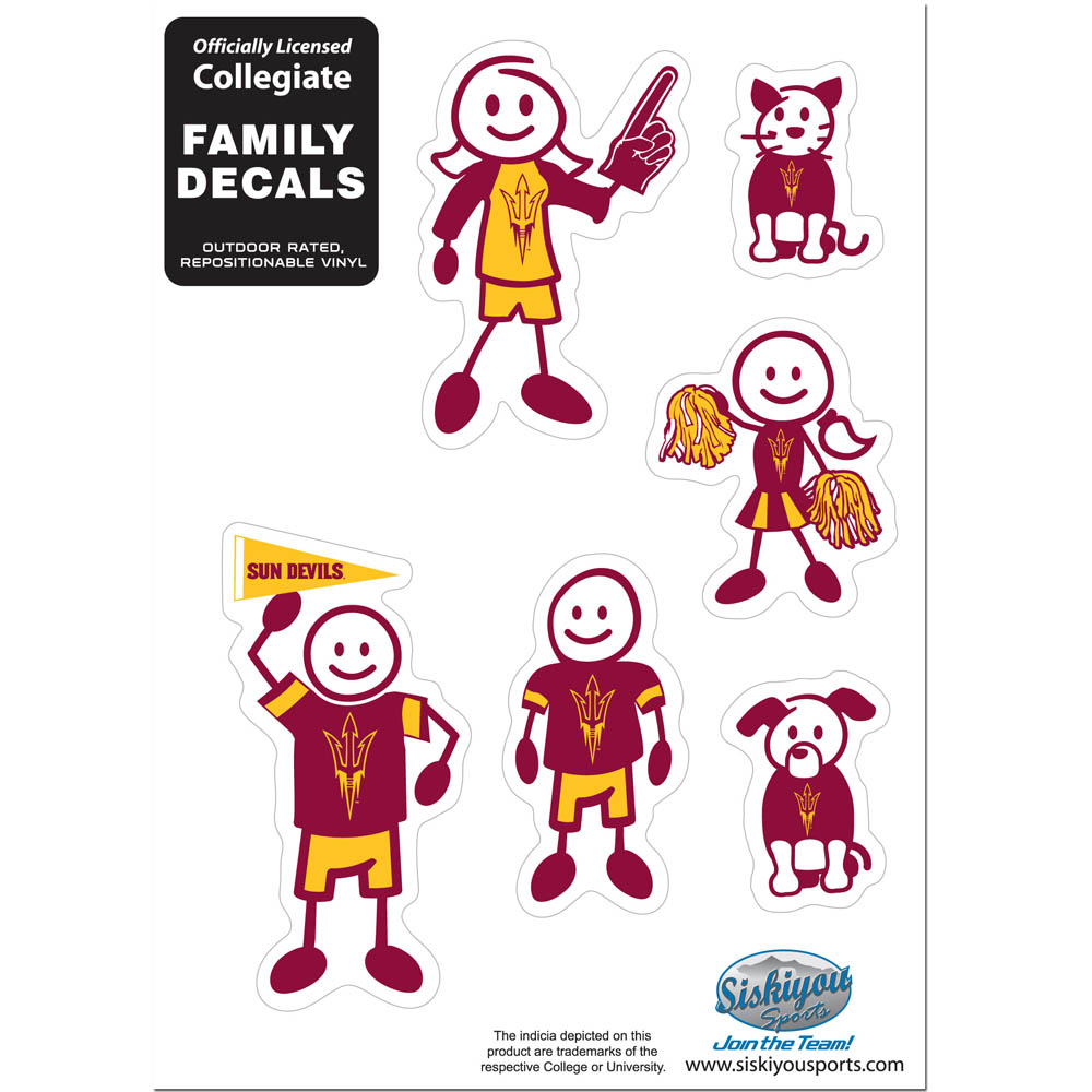 Arizona St. Sun Devils Family Decal Set Small - Show off your team pride with our Arizona St. Sun Devils family automotive decals. The set includes 6 individual family themed decals that each feature the team logo. The 5 x 7 inch decal set is made of outdoor rated, repositionable vinyl for durability and easy application.
