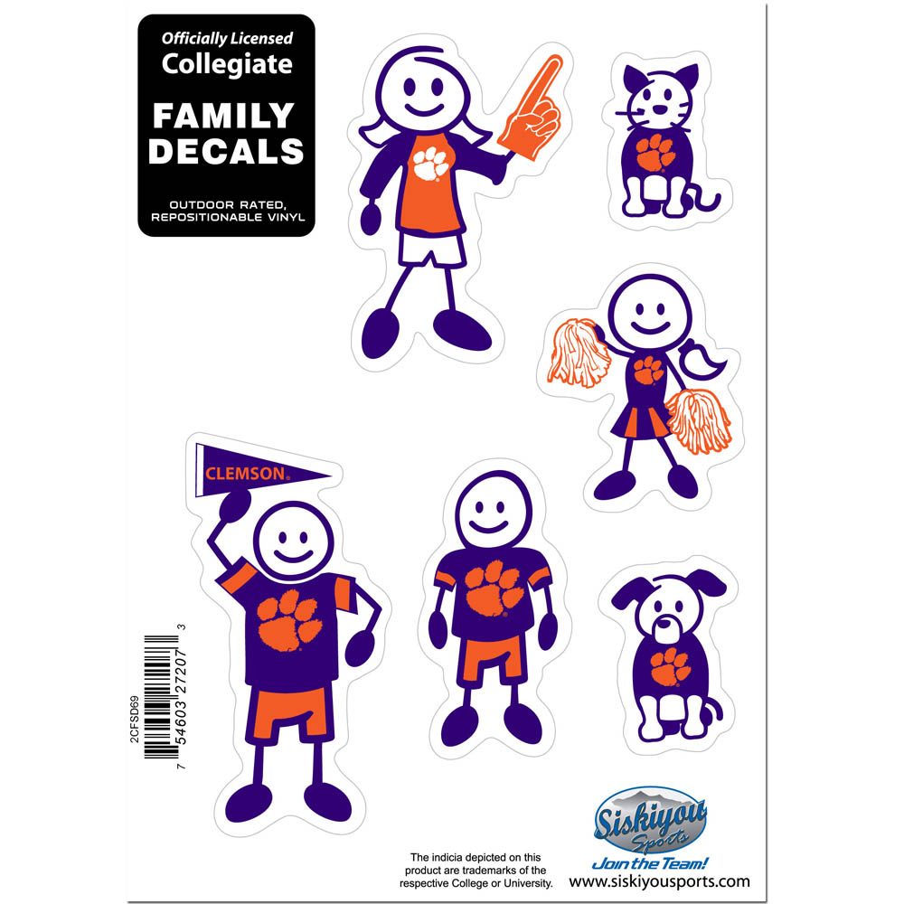 Clemson Tigers Family Decal Set Small - Show off your team pride with our Clemson Tigers family automotive decals. The set includes 6 individual family themed decals that each feature the team logo. The 5 x 7 inch decal set is made of outdoor rated, repositionable vinyl for durability and easy application.
