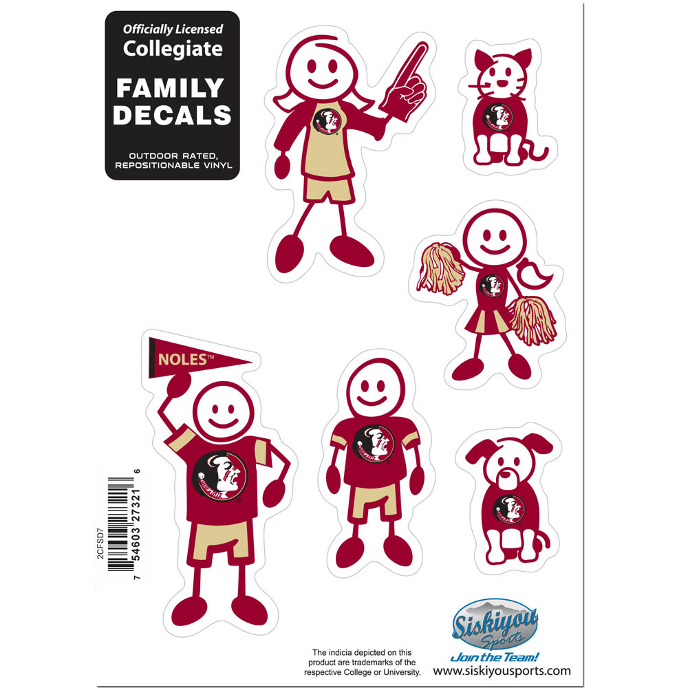 Florida St. Seminoles Family Decal Set Small - Show off your team pride with our Florida St. Seminoles family automotive decals. The set includes 6 individual family themed decals that each feature the team logo. The 5 x 7 inch decal set is made of outdoor rated, repositionable vinyl for durability and easy application.