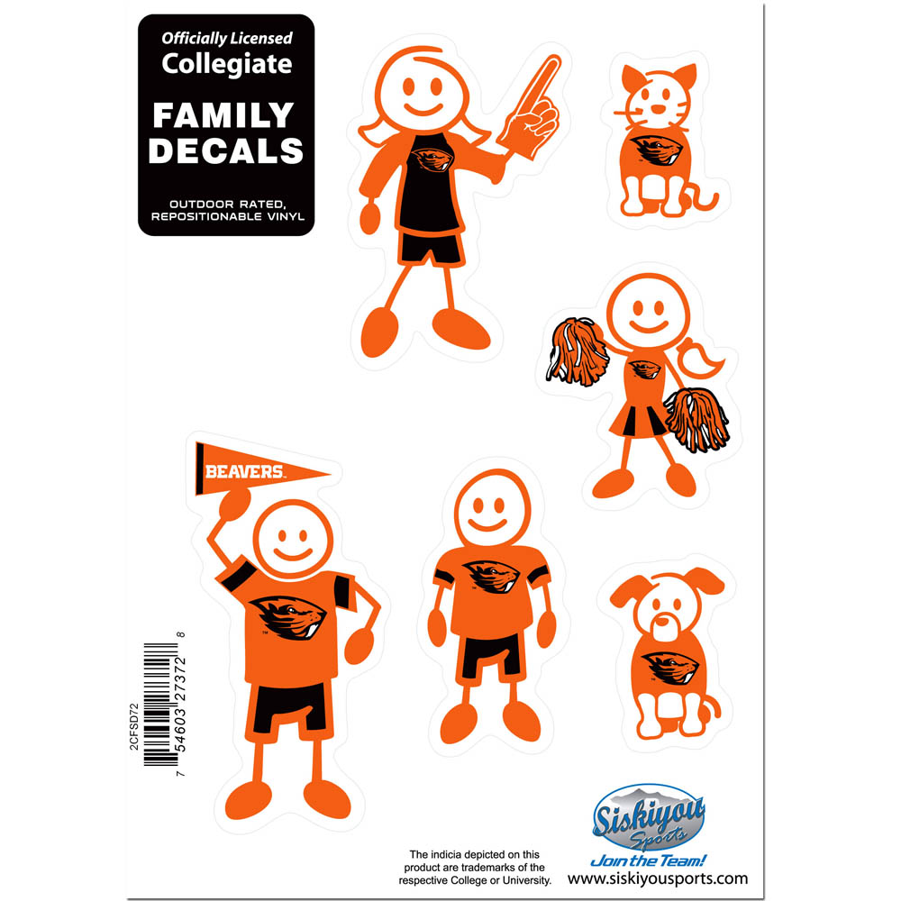 Oregon St. Beavers Family Decal Set Small - Show off your team pride with our Oregon St. Beavers family automotive decals. The set includes 6 individual family themed decals that each feature the team logo. The 5 x 7 inch decal set is made of outdoor rated, repositionable vinyl for durability and easy application.
