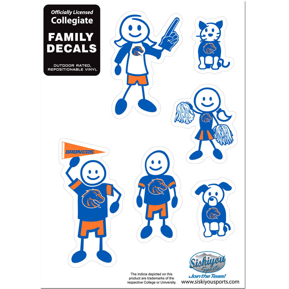 Boise St. Broncos Family Decal Set Small - Show off your team pride with our Boise St. Broncos family automotive decals. The set includes 6 individual family themed decals that each feature the team logo. The 5 x 7 inch decal set is made of outdoor rated, repositionable vinyl for durability and easy application.