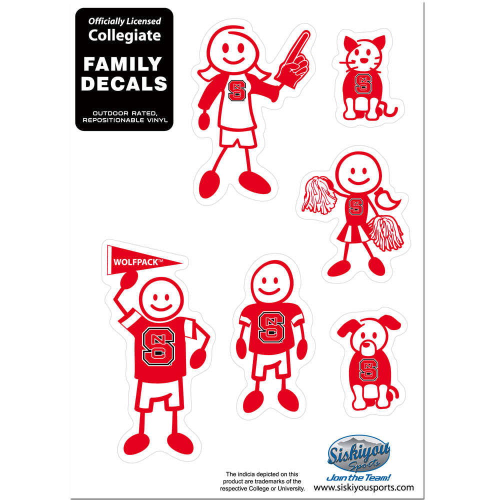 N. Carolina St. Wolfpack Family Decal Set Small - Show off your team pride with our N. Carolina St. Wolfpack family automotive decals. The set includes 6 individual family themed decals that each feature the team logo. The 5 x 7 inch decal set is made of outdoor rated, repositionable vinyl for durability and easy application.
