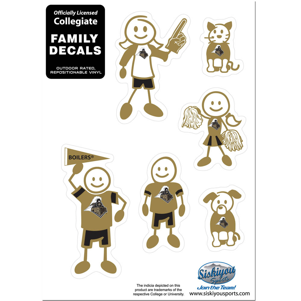 Purdue Boilermakers Family Decal Set Small - Show off your team pride with our Purdue Boilermakers family automotive decals. The set includes 6 individual family themed decals that each feature the team logo. The 5 x 7 inch decal set is made of outdoor rated, repositionable vinyl for durability and easy application.