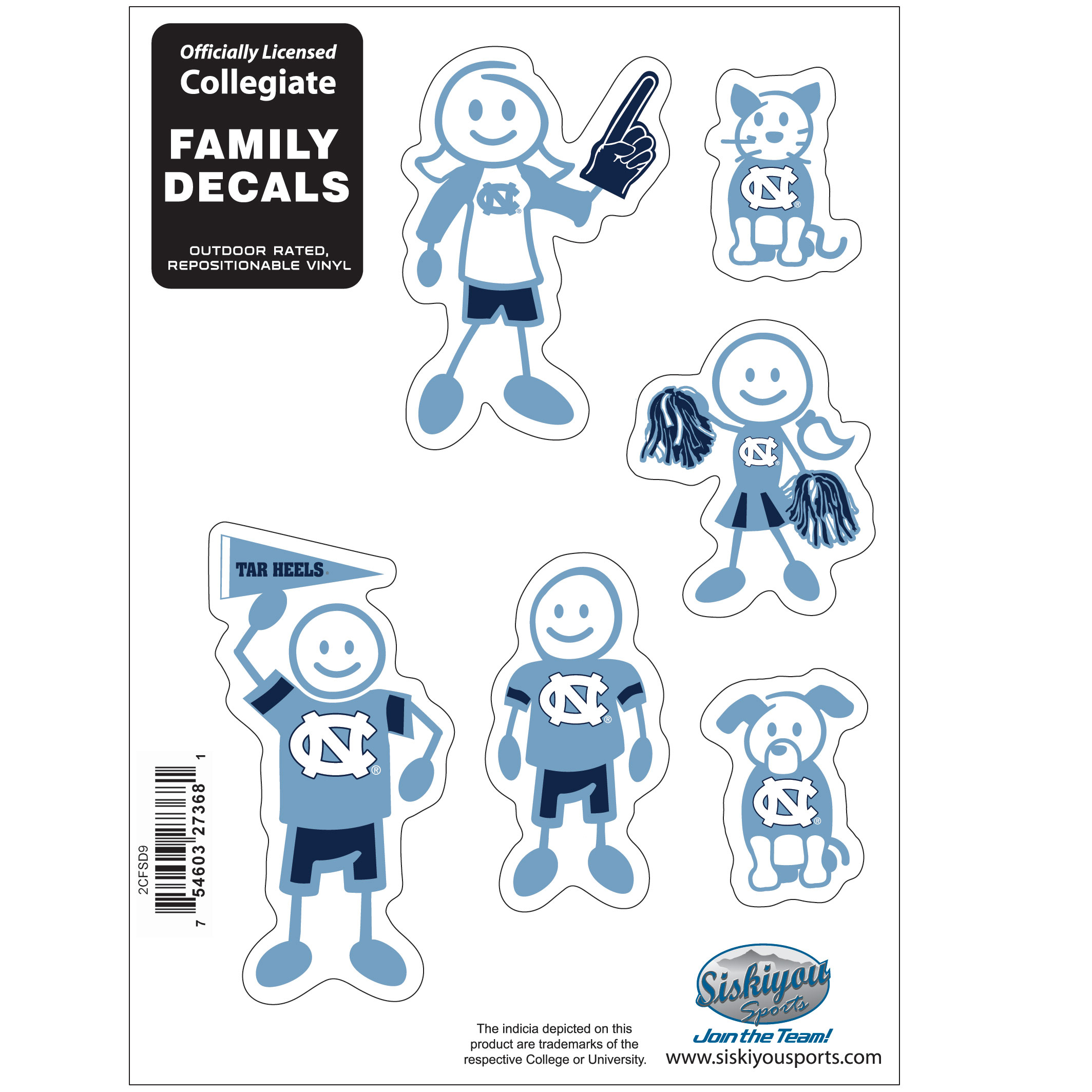 N. Carolina Tar Heels Family Decal Set Small - Show off your team pride with our N. Carolina Tar Heels family automotive decals. The set includes 6 individual family themed decals that each feature the team logo. The 5 x 7 inch decal set is made of outdoor rated, repositionable vinyl for durability and easy application.