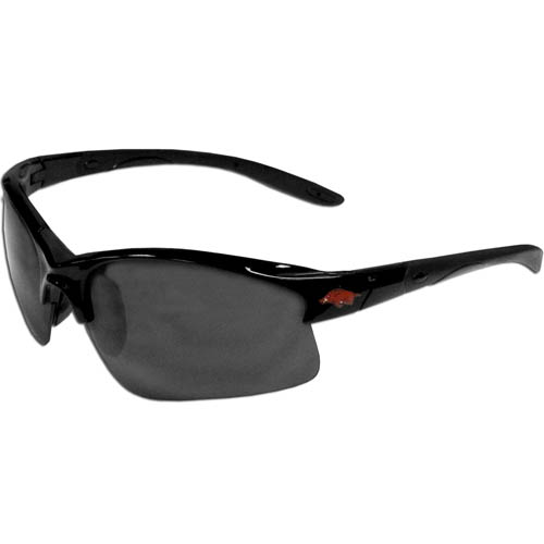 Arkansas Razorbacks Blade Sunglasses - Our Arkansas Razorbacks blade sunglasses have the sports logo screen printed on both sides of the frames. Look stylish wearing our sports memorabilia glasses with arms that feature rubber colored accents and UV400 protection. Thank you for shopping with CrazedOutSports.com