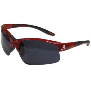 Alabama Crimson Tide Blade Sunglasses - Our Alabama Crimson Tide blade sunglasses have the Alabama Crimson Tide logo screen printed on both sides of the frames. Look stylish wearing our sports memorabilia glasses with arms that feature rubber colored accents and UV400 protection. Thank you for shopping with CrazedOutSports.com