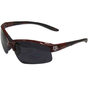 Texas A and M Blade Sunglasses - Our blade sunglasses have the sports logo screen printed on both sides of the frames. Look stylish wearing our sports memorabilia glasses with arms that feature rubber colored accents and UV400 protection. Thank you for shopping with CrazedOutSports.com