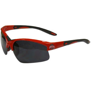 Ohio St. Blade Sunglasses - Our blade sunglasses have the sports logo screen printed on both sides of the frames. Look stylish wearing our sports memorabilia glasses with arms that feature rubber colored accents and UV400 protection. Thank you for shopping with CrazedOutSports.com