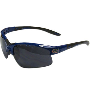 Florida Gators Blade Sunglasses - Our Florida Gators blade sunglasses have the Florida Gators sports logo screen printed on both sides of the frames. Look stylish wearing our sports memorabilia glasses with arms that feature rubber colored accents and UV400 protection. Thank you for shopping with CrazedOutSports.com