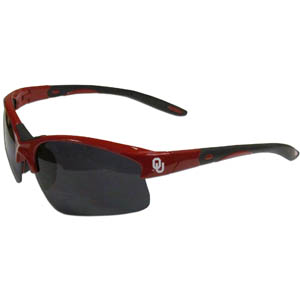 Oklahoma Blade Sunglasses - Our blade sunglasses have the sports logo screen printed on both sides of the frames. Look stylish wearing our sports memorabilia glasses with arms that feature rubber colored accents and UV400 protection. Thank you for shopping with CrazedOutSports.com