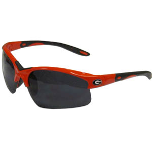 Georgia Bulldogs Blade Sunglasses - These Georgia Bulldogs blade sunglasses have the Georgia Bulldogs sports logo screen printed on both sides of the frames. Look stylish wearing our sports memorabilia glasses with arms that feature rubber colored accents and UV400 protection. Thank you for shopping with CrazedOutSports.com