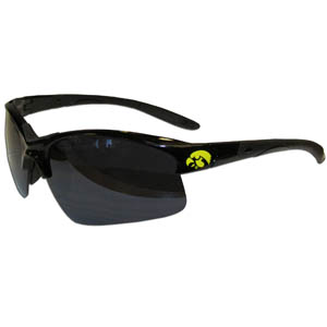 Iowa Hawkeyes Blade Sunglasses - These Iowa Hawkeyes blade sunglasses have the sports logo screen printed on both sides of the frames. Look stylish wearing our sports memorabilia Iowa Hawkeyes Blade Sunglasses with arms that feature rubber colored accents and UV400 protection. Thank you for shopping with CrazedOutSports.com