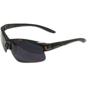 Miami Hurricanes Blade Sunglasses - Miami Hurricanes blade sunglasses have the sports logo screen printed on both sides of the frames. Look stylish wearing these sports memorabilia Miami Hurricanes sunglasses with arms that feature rubber colored accents and UV400 protection. Thank you for shopping with CrazedOutSports.com