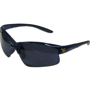 W. Virginia Blade Sunglasses - Our blade sunglasses have the sports logo screen printed on both sides of the frames. Look stylish wearing our sports memorabilia glasses with arms that feature rubber colored accents and UV400 protection. Thank you for shopping with CrazedOutSports.com