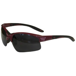 Virginia Tech Blade Sunglasses - Our blade sunglasses have the sports logo screen printed on both sides of the frames. Look stylish wearing our sports memorabilia glasses with arms that feature rubber colored accents and UV400 protection. Thank you for shopping with CrazedOutSports.com