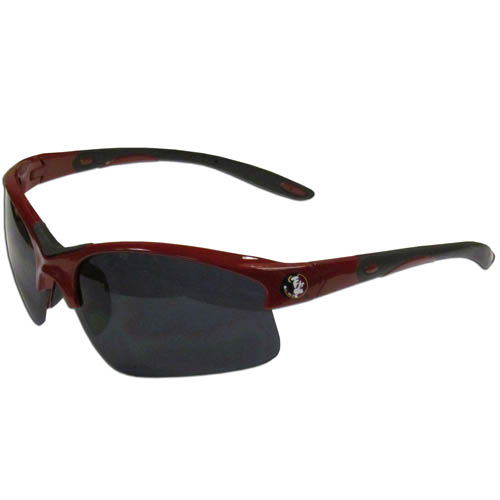 Florida St. Seminoles Blade Sunglasses - Our Florida St. Seminoles blade sunglasses have the Florida St. Seminoles logo screen printed on both sides of the frames. Look stylish wearing our sports memorabilia glasses with arms that feature rubber colored accents and UV400 protection. Thank you for shopping with CrazedOutSports.com