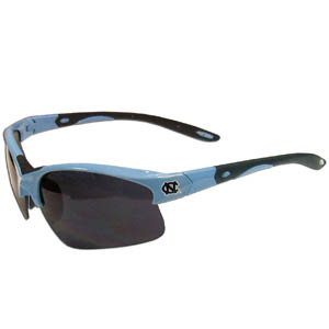 N. Carolina Blade Sunglasses - Our blade sunglasses have the sports logo screen printed on both sides of the frames. Look stylish wearing our sports memorabilia glasses with arms that feature rubber colored accents and UV400 protection. Thank you for shopping with CrazedOutSports.com