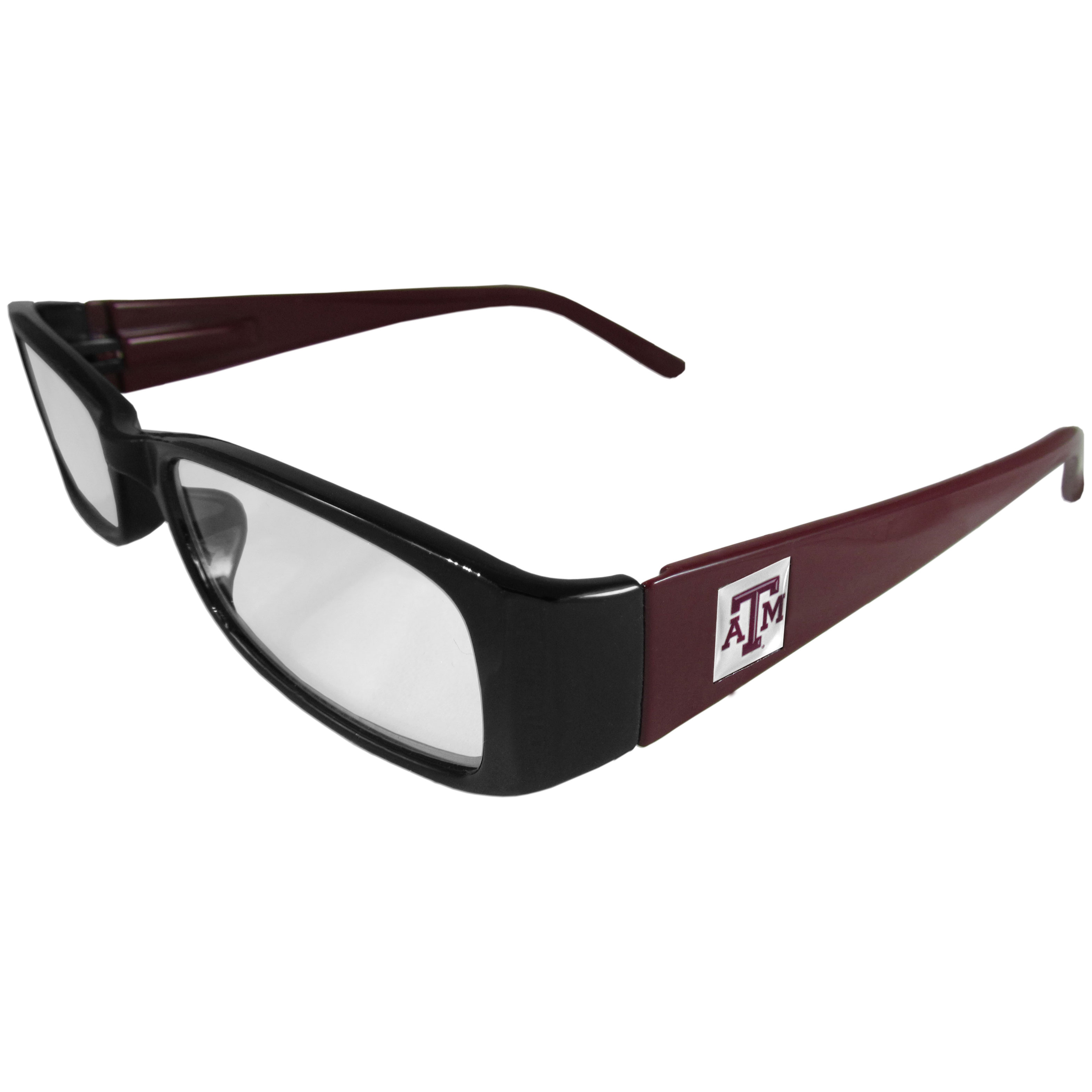 Texas A and M Aggies Reading Glasses +1.75 - Our Texas A & M Aggies reading glasses are 5.25 inches wide and feature the team logo on each arm. Magnification Power 1.75