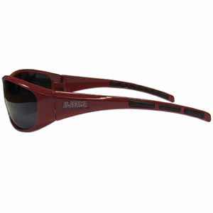Alabama Crimson Tide Wrap Sunglasses - Our Alabama Crimson Tide collegiate wrap style sports memorabilia sunglasses have the school logo screen printed the frames. The sunglass arms feature rubber colored accents. UV 400 protection. Check out all our other great NFL, NCAA, MLB, NHL product line up. Thank you for shopping Crazed Out Sports!!
