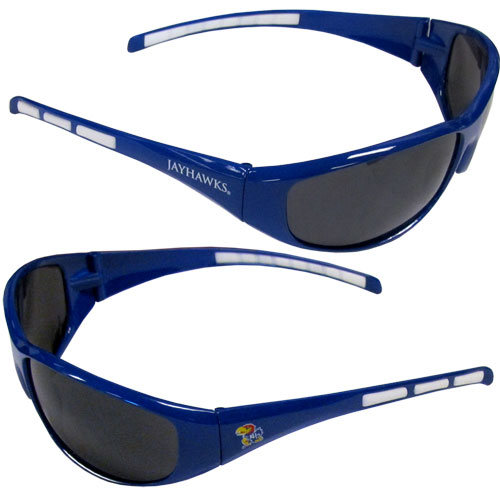 Kansas Jayhawks Wrap Sunglasses - These Kansas Jayhawks college blade sunglasses are the team logo screen printed on one side of the frames and the team logo on the other side of the frames. The Kansas Jayhawks Wrap sunglass arms feature rubber team colored accents. Maximum UV400 protection. Thank you for shopping with CrazedOutSports.com