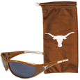 Texas Longhorns Sunglass and Bag Set - Get our most popular Texas Longhorns sunglasses with a matching microfiber bag carrying case. The wrap sunglasses are durable and fashionable with the maximum UVA/UBVB protection. The stylish bag is made of microfiber so it can also be used as a cleaning cloth. Thank you for shopping with CrazedOutSports.com