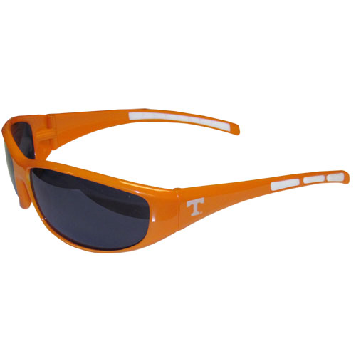 Tennesee Wrap Sunglasses - Our collegiate wrap style sports memorabilia sunglasses have the school logo screen printed the frames. The sunglass arms feature rubber colored accents. UV 400 protection. Thank you for shopping with CrazedOutSports.com