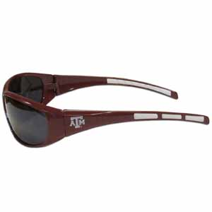 Texas A and M Wrap Sunglasses - Our collegiate wrap style sports memorabilia sunglasses have the school logo screen printed the frames. The sunglass arms feature rubber colored accents. UV 400 protection. Thank you for shopping with CrazedOutSports.com